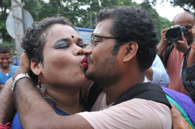 A couple share a kiss in Kolkata after the Supreme Court