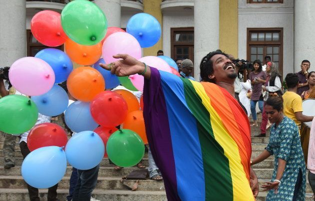 LGBT activists celebrate after the verdict by Supreme Court in
