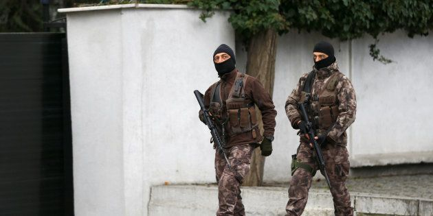 Police special forces patrol outisde the Reina nightclub which was attacked by a gunman, in Istanbul,...