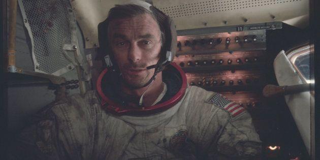 Astronaut Eugene A. Cernan, Apollo 17 commander, is photographed inside the lunar module on the lunar...