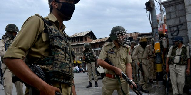 A file photo of security forces in Jammu and Kashmir.