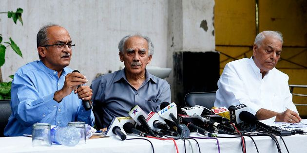(From left) Prashant Bhushan, Arun Shourie and Yashwant Sinha at their first press conference on the...