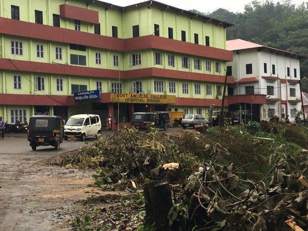 Trees stumps at the entrance of the Govt Medical College and Hospital, Idukki, the approach road to which...