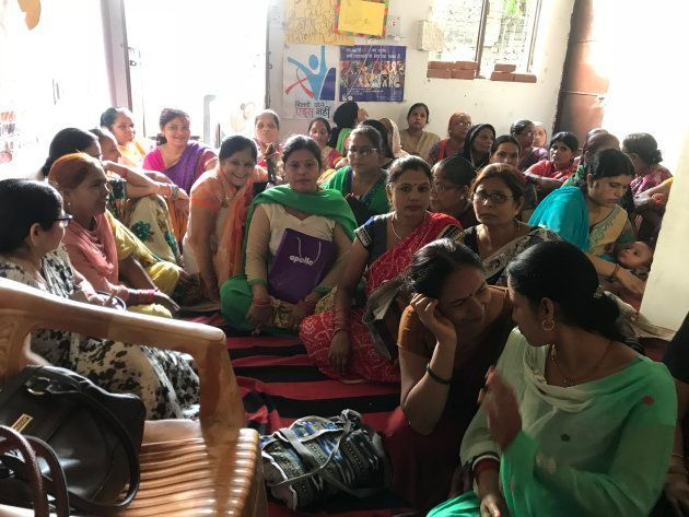 Anganwadi workers and helpers at a meeting in