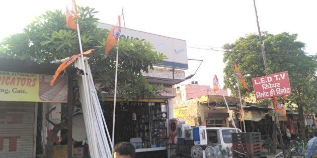 Saffron flags hoisted at the Sheetla Mata
