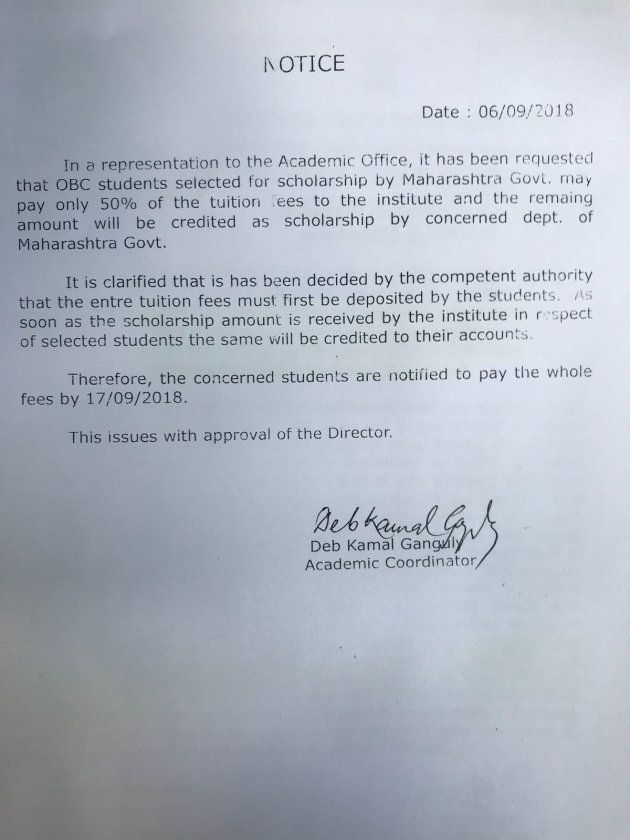 A copy of the notice that says FTII will reimburse scholarship money once it receives it from the