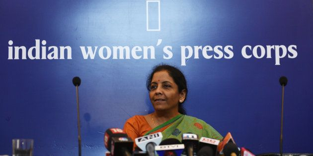 Defence minister Nirmala Sitharaman at the Indian Women's Press Corps in New Delhi on