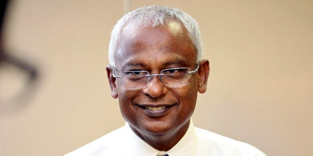 Maldivian joint opposition presidential candidate Ibrahim Mohamed Solih speaks to the media at the end...