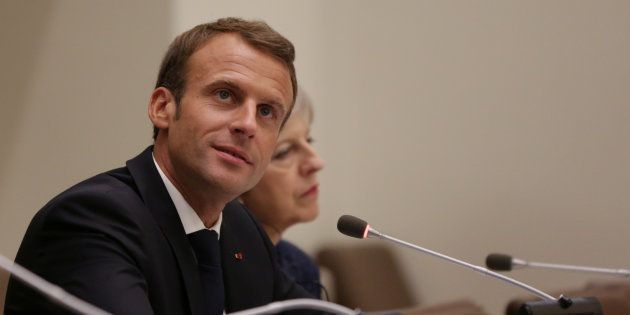 French President Emmanuel Macron speaks at an event at the U.N. headquarters during the United Nations...