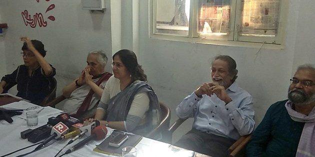 (From left) Maja Daruwala, Romila Thapar, Vrinda Grover, Prabhat Patnaik and Satish Deshpande at the...