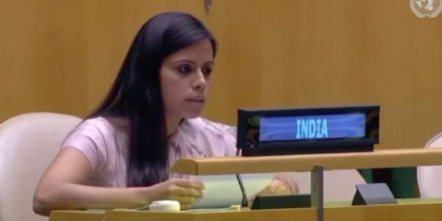 Indian diplomat Eenam Gambhir exercised India's Right of Reply and rejected Qureshi's allegation made...