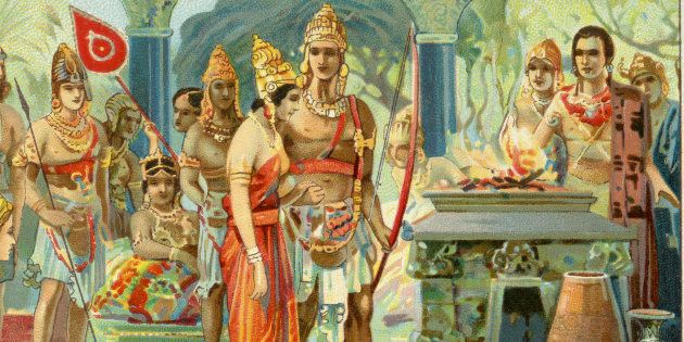 Marriage of Draupadi. Liebig collectors' card 1931 (Photo by Culture Club/Getty