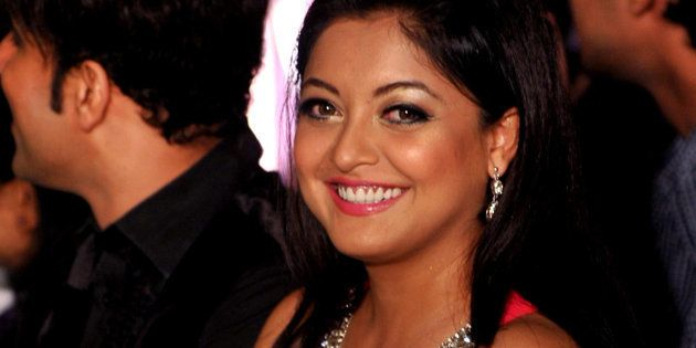 Indian Bollywood ctress Tanushree Dutta poses for a photo during an event for the Mandate Model Hunt...