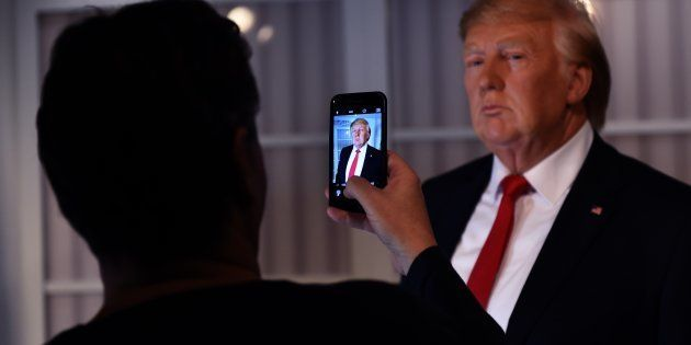 A new wax figure of US President-elect Donald Trump is viewed a day after it was launched at Madame Tussauds...
