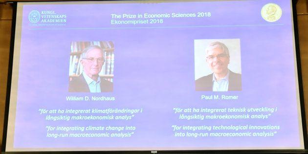 Per Stromberg, Goran K. Hansson and Per Krusell annonce the laureates of the Nobel Prize in Economics...
