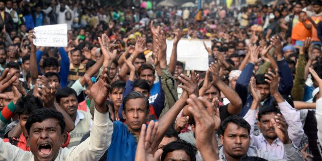 Thousands of people of Polerhat, Bhangar gather in a protest rally against agriculture land acquisition...