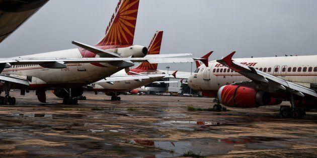 Air India planes at a tarmac at the Indira Gandhi International