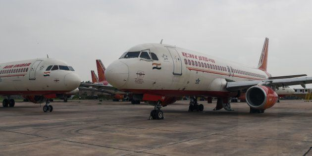 Air India planes at the Indira Gandhi International Airport in New