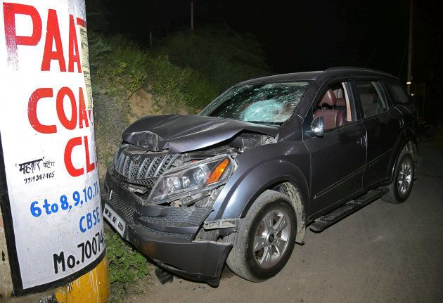 The damaged vehicle of Vivek Tiwari, a sales manager for Apple, is seen after he was shot dead by a police...