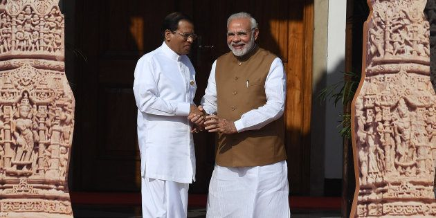 A file photo of Sri Lankan President Maithripala Sirisena and Indian Prime Minister Narendra