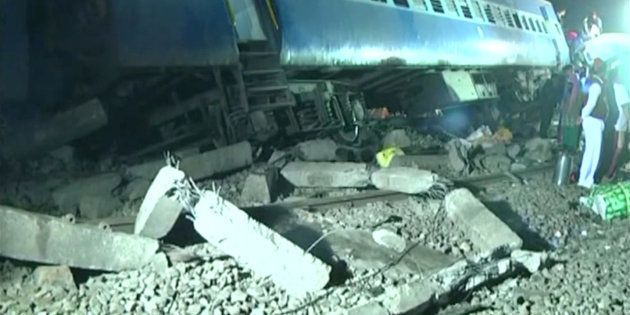 Derailed coaches of a Hirakhand express train from Jagdalpur to Bhubaneswar are seen near Kuneri station,...
