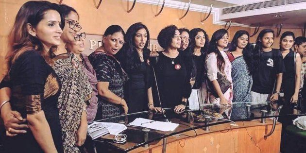 Members of the Women in Cinema Collective at the press meet in Kochi on 13