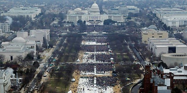 People attend inauguration ceremonies for U.S. President Donald Trump in Washington,