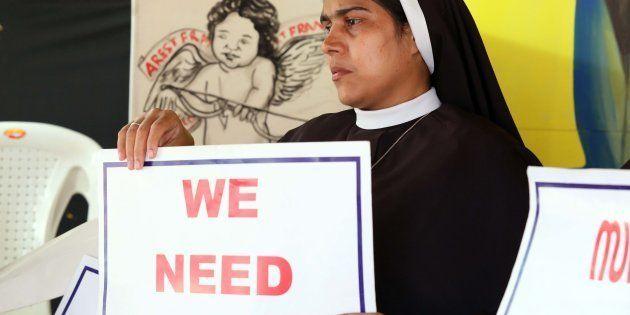 A nun protesting against rape-accused Franco Mulakkal in Kochi in September.