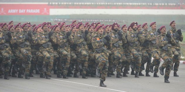 Indian Army Para Commandos march during the Army Day parade in New