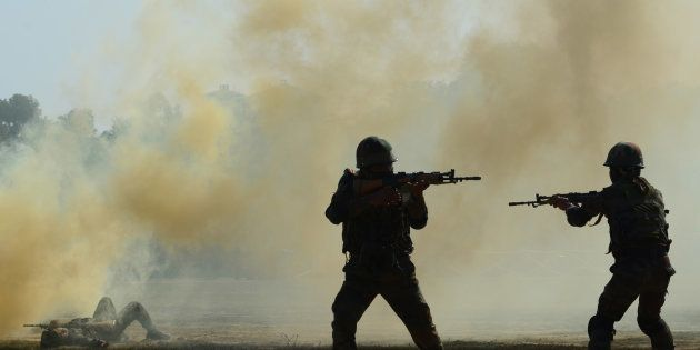 Indian army commandos take part in a surgical strike mock operation, on the second day of the 'Know your...