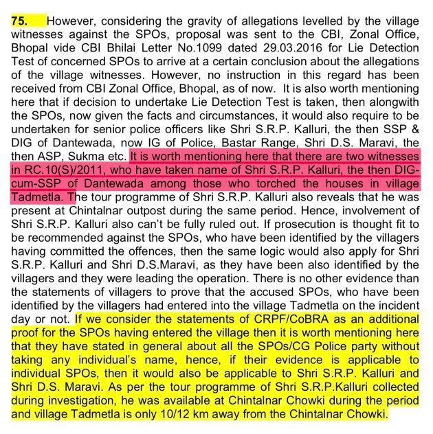 An excerpt of an internal CBI memo considering Inspector General of Police SRP Kalluri's role in the...