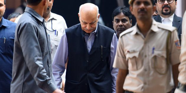 Former Union minister MJ Akbar appeared at Patiala house court for a hearing in the sexual harassment...