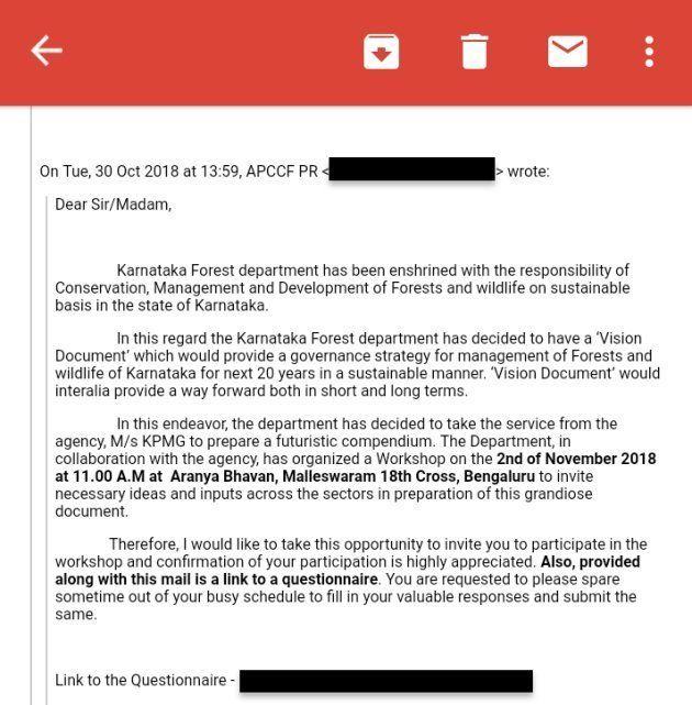 Excerpt of email from Karnataka forest department announcing the selection of KPMG as a consultant to...