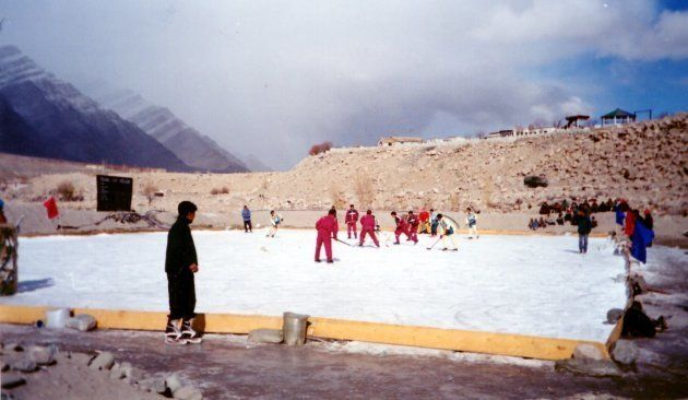 Ladakh's early ice hockey athletes play before the advent of helmets and pads in the area. (Photo:Ladakh...