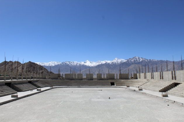 Construction on a proper ice hockey stadium in Leh has stalled pending funding. Shade from the sun is...