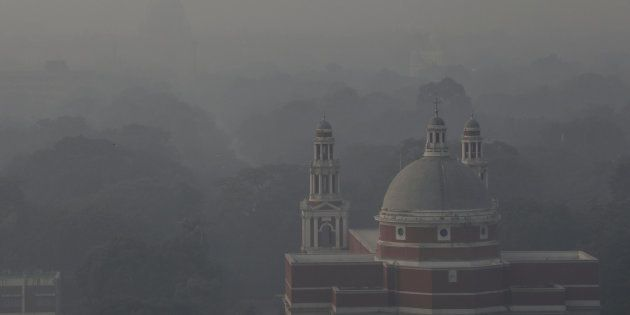 A church is shrouded in smog in New Delhi, India, November 1,