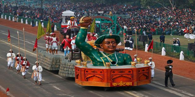 A tableau depicting the might of Indian historical figure Tipu Sultan moves past during full dress rehearsals...