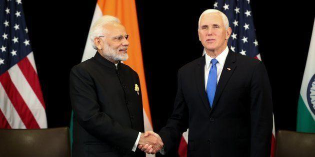 Prime Minister Narendra Modi with US Vice President Mike