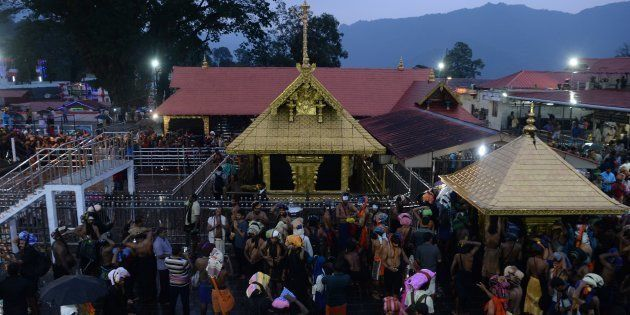 Hindu devotees at the Lord Ayyappa temple in