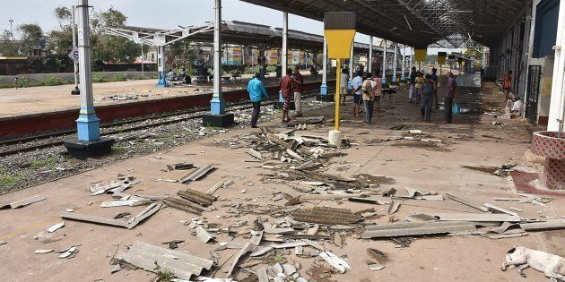 Debris from a damaged roof is pictured on a platform at the train station in Nagapattinam in India's...