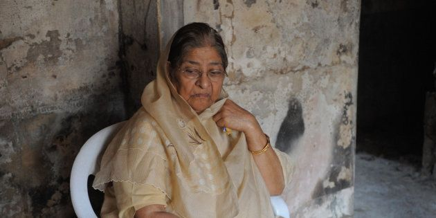A 2012 photo of Zakia Jafri inside the remains of her former residence, which was torched during the...
