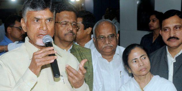 Andhra Pradesh Chief Minister Chandrababu Naidu meets West Bengal Chief Minister Mamata Banerjee at West...