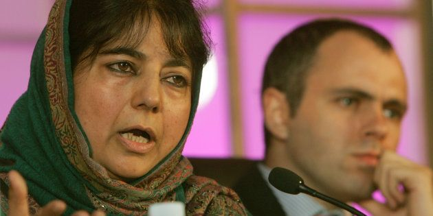 A file photo of PDP chief Mehbooba Mufti with the National Conference's Omar