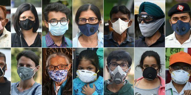 This combination of pictures shows people wearing face masks to protect themselves against air pollution...