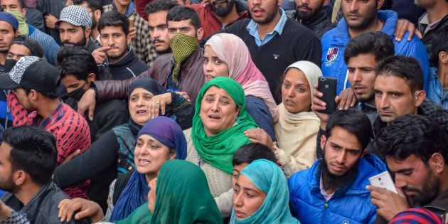 Mourners at the funeral procession of slain militant Mohd Amin in Pampore earlier this month. 2018 has...