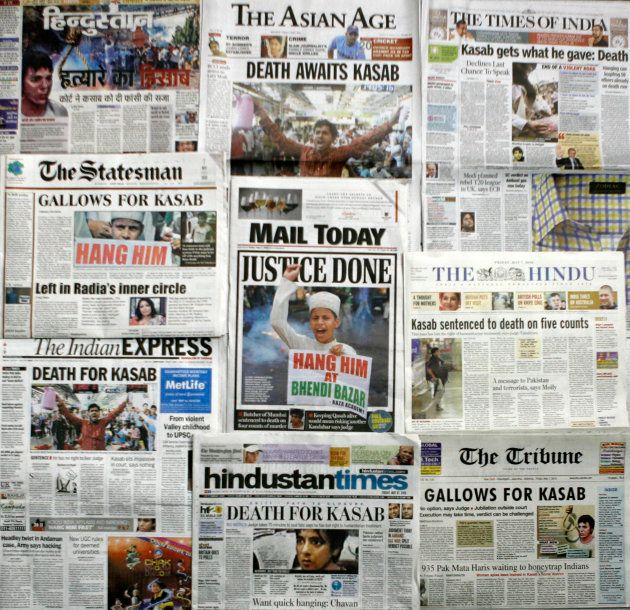 A combination of front pages of major Indian newspapers the day after Kasab was sentenced to