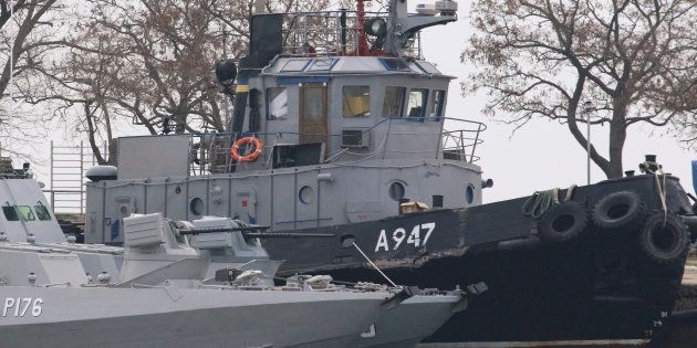 Seized Ukrainian ships, small armoured artillery ships and a tug