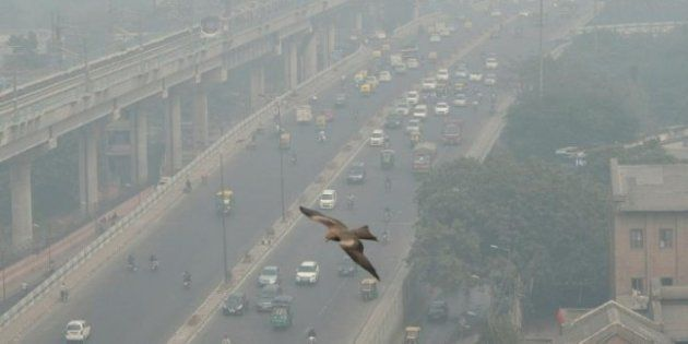 Haze covered Delhi streets in a file