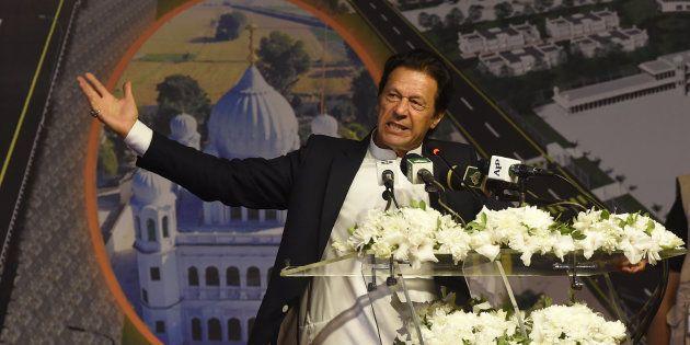 Pakistan Prime Minister Imran Khan addresses the groundbreaking ceremony for the Kartarpur