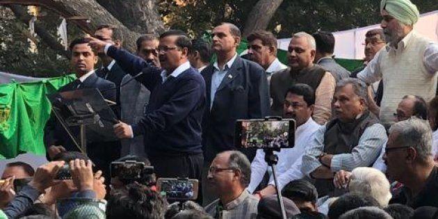 Arvind Kejriwal addressing the farmers'